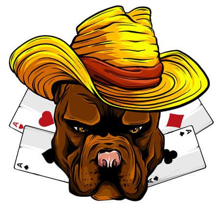 playing card and bulldog vector illustration