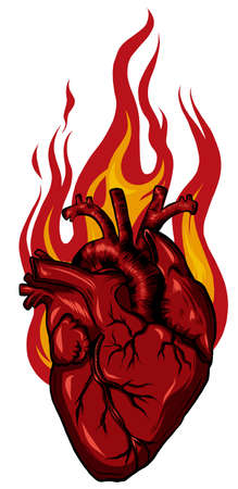 vector Burning Heart. Illustration for design tattoo Illustration