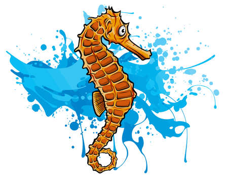a Seahorse. Vector illustration without Mesh tool.