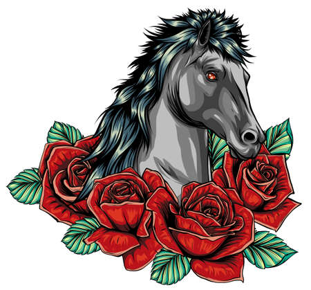 Embroidery horse head and wild roses, dogrose flowers. Ilustrace