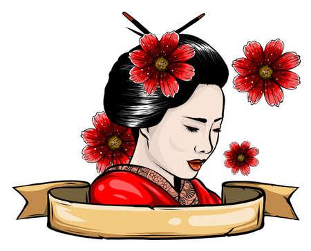 Geisha color tattoo. Symbol of  Japan Ilustrace