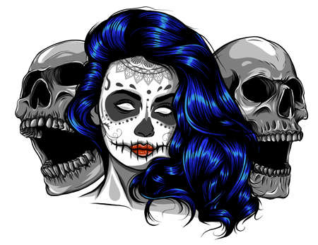 Dead girl with two sugar skulls. vector Standard-Bild - 141833893