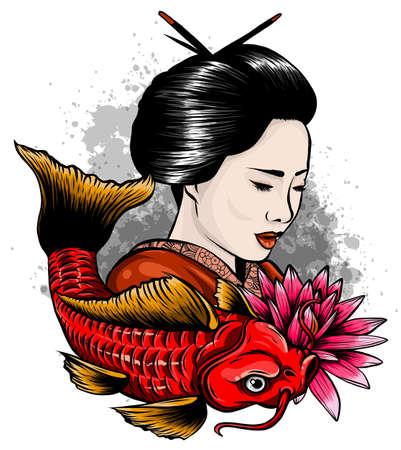 Vector illustration of Japanese geisha feeding sacred Koi carps at autumn time.