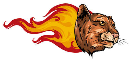 Jaguar Flame Tattoo vector illustration design art