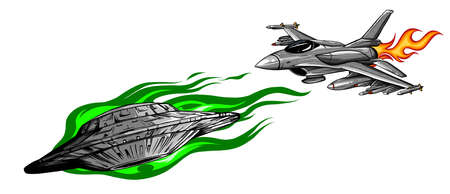 Battle star space from a ufo and airplane