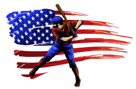 Powerful Baseball Hitter Left handed vector illustration 일러스트