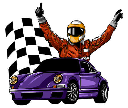 A vector illustration of a race car driver in front of his car
