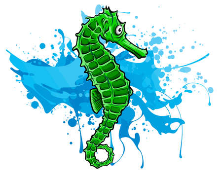 fish Sea horse green . Vector illustration