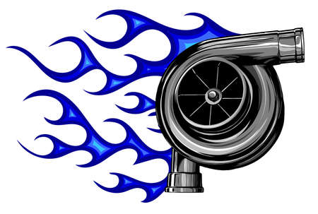 Automotive turbo charger vector illustration