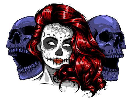 Sugar skull girl face with make up for Day of the Dead Dia de los Muertos . vector Standard-Bild - 142293538