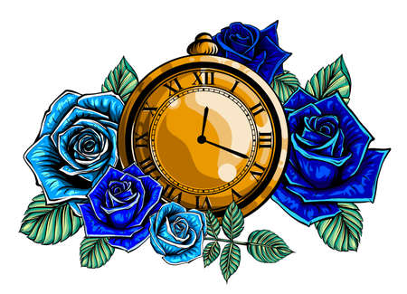 Composition with flower and pocket watch on chain. Vector illustration for tattoo. Time symbol.