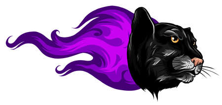 Black Panther Attack in Fire and Flames Vector Tattoo