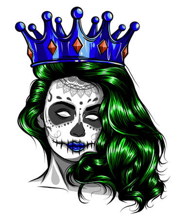 Female skull with a crown and long hair. Queen of death drawn in tattoo style. Vector illustration. Standard-Bild - 142293446