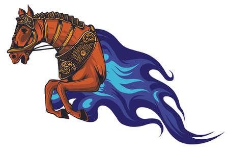Fire horse or devil stallion symbol with head of an angry horse with bright orange and red flaming mane.