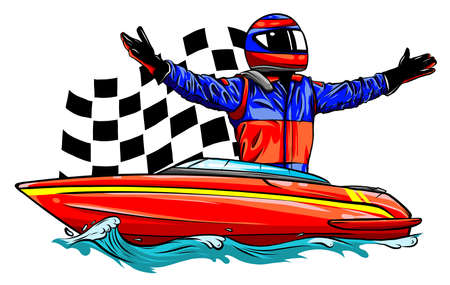 Racing boat. Top view. Vector illustration. Applique with realistic shadows. Ilustracja