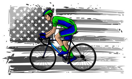 american cyclist riding racing bicycle cycling facing front set inside shield crest with usa stars and stripes flag in the background done in retro style.
