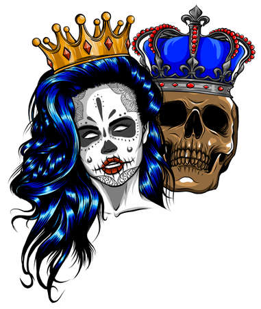 tattoo of King and queen of death. Portrait of a skull with a crown. Ilustrace