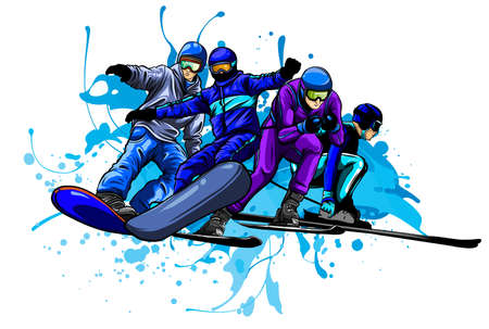Vector set of skiers. People skiing design elements isolated on white background.
