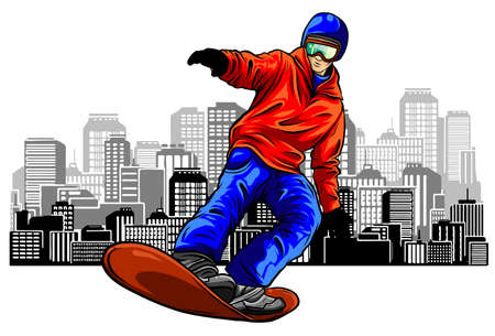 Colored hand sketch snowboarder on a grunge background.