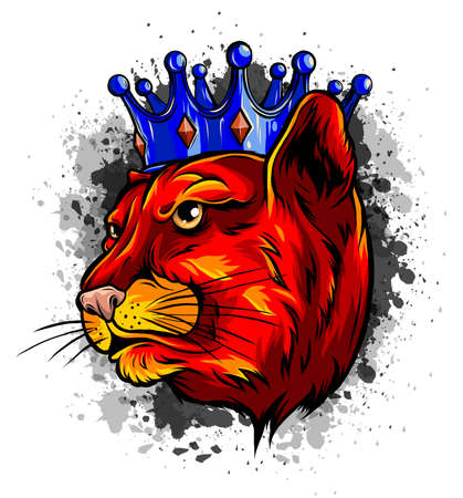 Panther in the crown. Vector illustration design Illustration