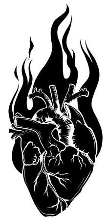 Flaming heart silhouette black icon. Vector illustration
