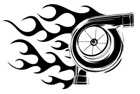 Turbocharger icon vector illustratio silhouette with flames