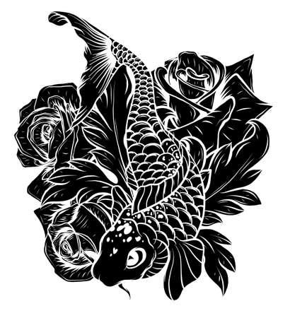 Giant carp fish vector illustration silhouette image Vecteurs