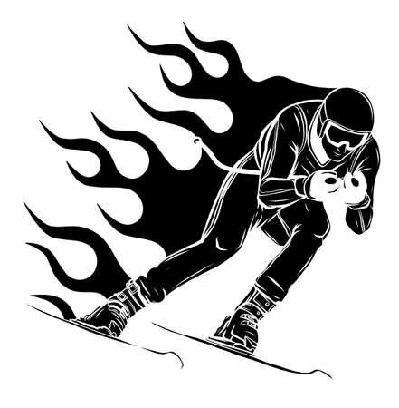 Mountain skier speeding down slope. Vector sport silhouette. Vettoriali
