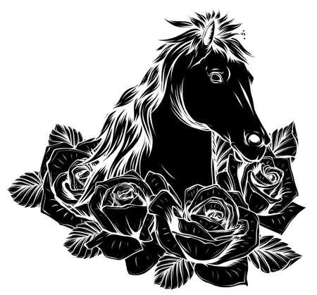 horse negative icon logo design vector illustration