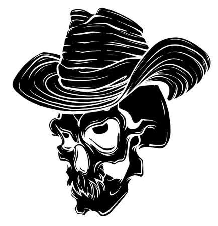 Gangster skull tattoo. Death head with cigar and hat vector Ilustração Vetorial