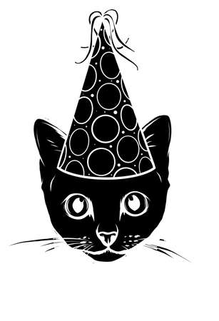 Birthday cards set with cute cartoon cats. Balloons and party hats, hearts and confetti. Vector contour image. Little kittens