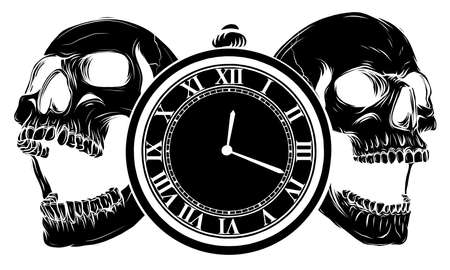 pocket watch with human skull,Time and death concept. illustration line art. Vectores