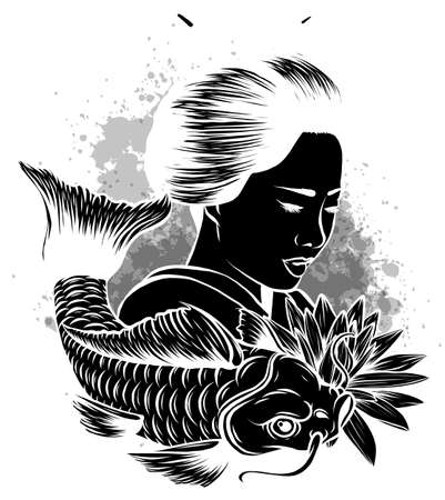Beautyful Geisha women with koi carp fish.hand drawn and doodle style.Japanese