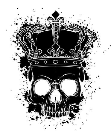 King of death. Portrait of a skull with a crown