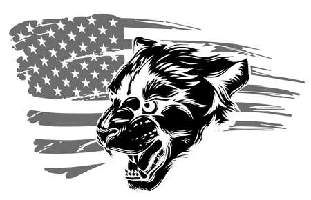 Embroidery tiger head and rippled American flag. Cool slogan.