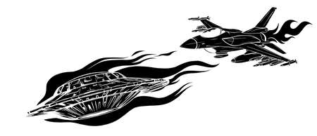 UFO Pursuing and fighter vector illustration design Vettoriali