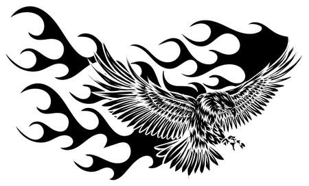 Flying Eagle, spread out its feather. black eagle on white background.