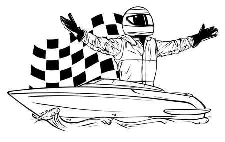 Racing boat. Top view. Vector illustration. Applique with realistic shadows. Stock Illustratie