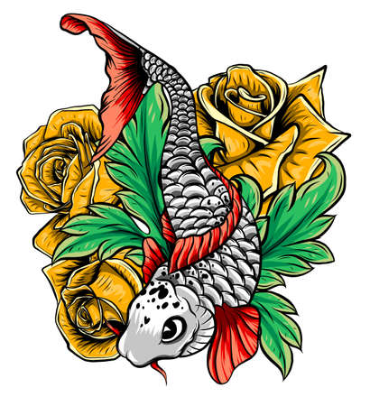 Dibujado a mano contorno pez koi y salpicaduras de agua tatuaje japonés