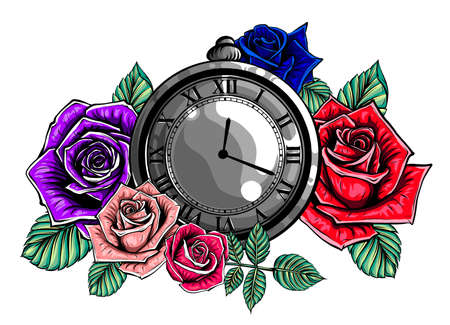 Vintage pocket watch with a pattern in roses and ornaments vector