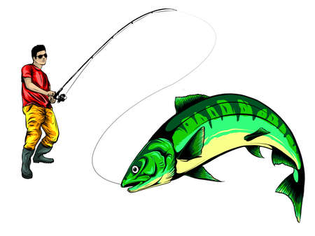 Fisherman catches fish vector illustration design art