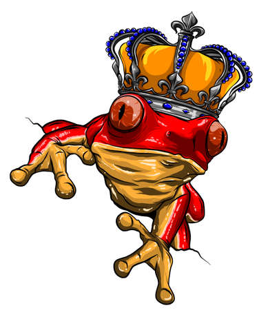 The frog Prince Fairy Tale vector illustration, with crown. vector Stock Illustratie