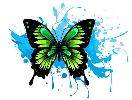 Realistic monarch butterfly in all colors of rainbow on white background. vector Stock Illustratie
