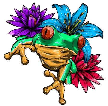 Cute frog cartoon. Cartoon frog sitting with flower, Vector illustration