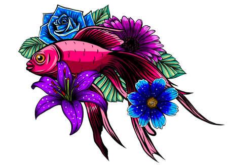 Beautiful hand drawn Koi carp fish in lotus water lily flowers.