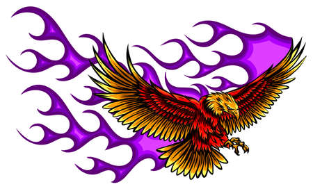 Eagle holding motorcycle engine with flames Illustration