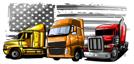 Vector cartoon semi truck illustration design art