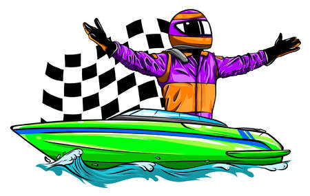 Motor boat race Vector illustration design art Ilustração