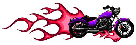 vector illustration Flaming Bike Chopper Ride Front View Banco de Imagens - 142960147
