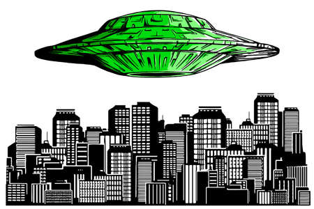 Ufo hiring at night city, search professional, alien spaceship flying above skyscrapers and empty road in megapolis lighting with bright ray, human resourse 向量圖像